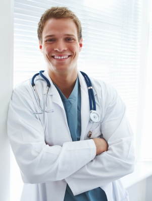 Closeup portrait of a happy young doctor